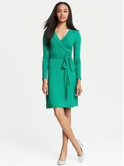 Green wrap dress at Banana Republic