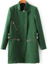 Green zipper coat at SheInside