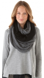 Grey and black colorblock scarf at Shopbop