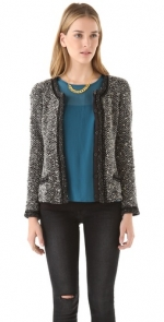 Grey boucle blazer like Zoe Harts at Shopbop