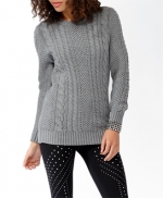 Grey cable knit sweater from Forever 21 at Forever 21
