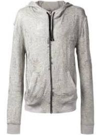 Grey cotton blend distressed hoodie at Farfetch