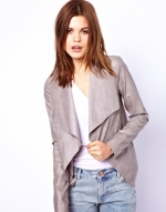 Grey draped leather jacket at Asos