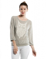 Grey embroidered owl sweatshirt at Lord & Taylor