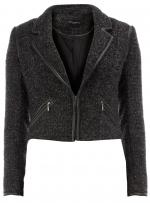Grey fleece biker jacket from Dorothy Perkins at Dorothy Perkins