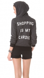 Grey hoodie with Shopping is my cardio at Shopbop