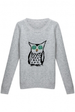 Grey owl sweater at Romwe at Romwe