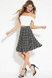 Grid Print A-Line Skirt  Forever 21 - 2000151778 at Forever 21