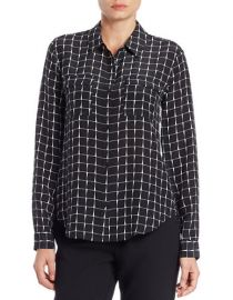 Grid patterned silk shirt at Lord & Taylor