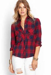 Grommet Plaid Shirt at Forever 21