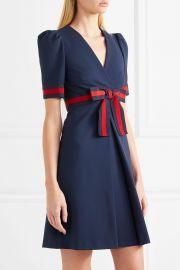 Grosgrain-trimmed stretch-ponte mini dress at Net A Porter