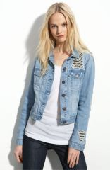 Gryphon Chain Mesh Denim Jacket at Nordstrom