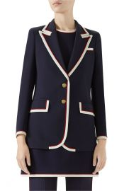 Gucci Peak Lapel Stretch Cady Blazer at Nordstrom