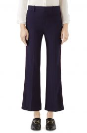 Gucci Side Stripe Stretch Cady Crop Flare Pants at Nordstrom