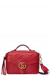 Gucci Small GG Marmont 2 0 Matelass   Leather Camera Bag with Webbed Strap at Nordstrom