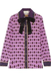 Gucci   Bow-embellished printed silk crepe de chine shirt at Net A Porter