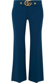 Gucci   Cropped embellished crepe flared pants at Net A Porter