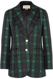 Gucci   Embroidered checked wool blazer at Net A Porter