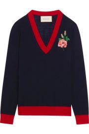 Gucci   Embroidered merino wool sweater at Net A Porter
