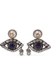 Gucci   Gold-plated  Swarovski crystal and faux pearl clip earrings at Net A Porter