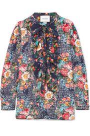 Gucci   Josephine embellished floral-print silk-chiffon shirt at Net A Porter