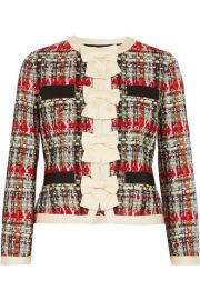 Gucci   Silk-twill and grosgrain-trimmed metallic tweed jacket at Net A Porter