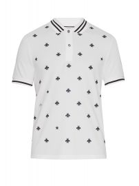 Gucci Bee and star-embroidered cotton polo shirt at Matches