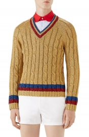 Gucci Cable Knit V-Neck Sweater at Nordstrom
