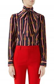 Gucci Chain Belt Print Silk Bow Neck Blouse at Nordstrom