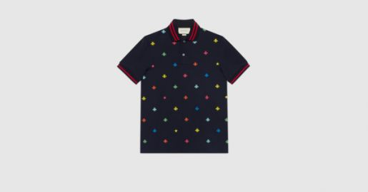 Cotton polo with bees and stars at Gucci