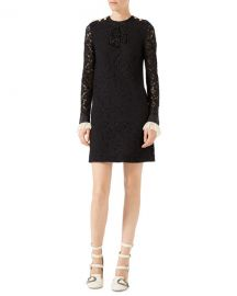 Gucci Embroidered Cluny Lace Dress  Black at Neiman Marcus