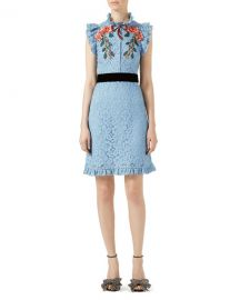 Gucci Embroidered Cluny Lace Dress  Light Blue   Neiman Marcus at Neiman Marcus