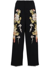Gucci Floral Embroidered Flared Trousers at Farfetch