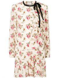 Gucci Floral Print Frill Trim Dress at Farfetch