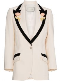 Gucci Flower Embroidered Wool Jacket at Farfetch