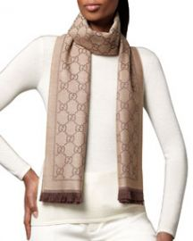 Gucci GG Pattern Scarf Light BrownDark Brown at Neiman Marcus