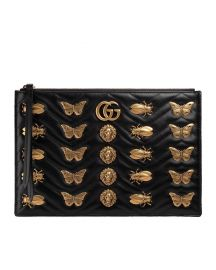 Gucci Large Flat Zip Pouch with Insect Embellishments at Bergdorf Goodman