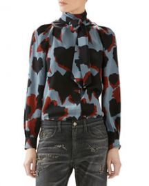 Gucci Leaves Print Silk Shirt at Neiman Marcus