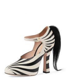 Gucci Lesley Ponytail Mary Jane Pump  Black White at Neiman Marcus