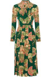 Gucci Pleated printed silk crepe de chine midi dress at Net A Porter
