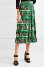 Gucci Pleated printed silk crepe de chine skirt at Net A Porter