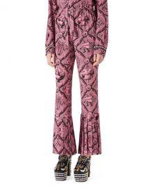 Gucci Romain Printed Silk Pants  Pink Black   Neiman Marcus at Neiman Marcus
