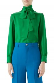 Gucci Silk Tie Neck Blouse at Nordstrom