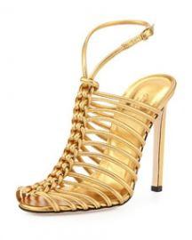 Gucci Strappy Knotted Metallic Sandal Gold at Neiman Marcus