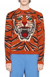 Gucci Tiger Print Wool Crewneck Sweater at Nordstrom