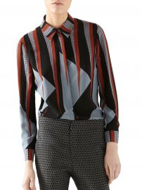Gucci Triangle-Print Silk Shirt at Saks Fifth Avenue