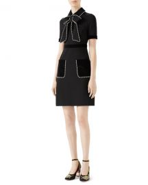 Gucci Viscose Jersey Dress with Pearls  amp  Crystals at Neiman Marcus