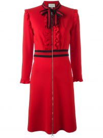 Gucci Web Bow Jersey Dress red at Farfetch