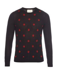 Gucci Wool Crew Neck with Bees and Stars at Matches