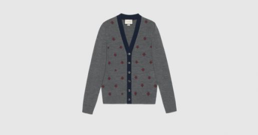 Wool cardigan with bees and stars at Gucci